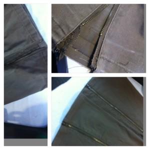 ファスナー付き綿ズボンの丈詰め