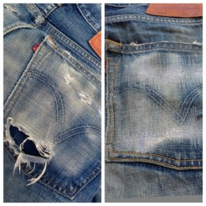 リーバイスジーンズ 後ろポケット修理