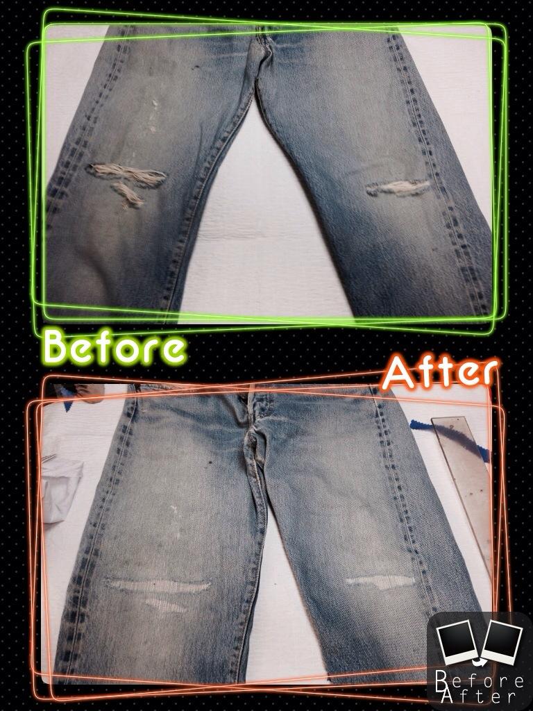 Levi's リーバイスジーンズ膝穴修理