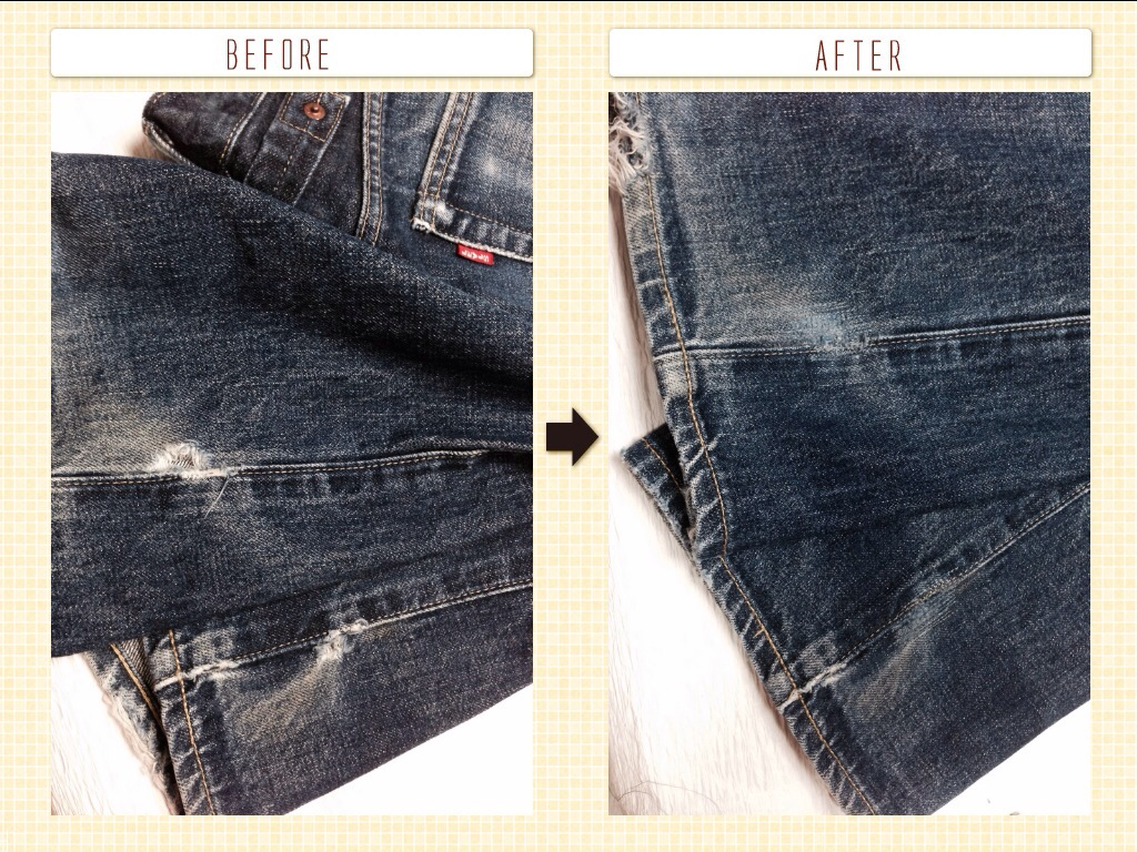 リーバイス 裾穴修理