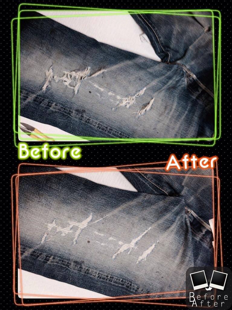 ジーンズ腿部分の穴開きの修理