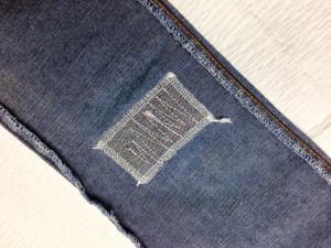 CIMARRON (シマロン)ジーンズ 膝穴ステッチ加工修理2
