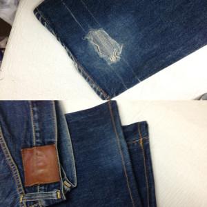 EVISUエビスジーンズ 裾丈詰め 裾の穴修理