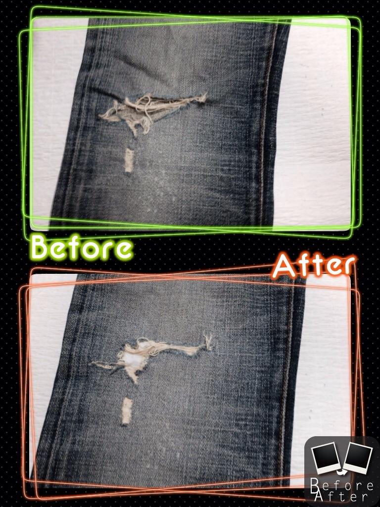 DIORジーンズ膝修理2