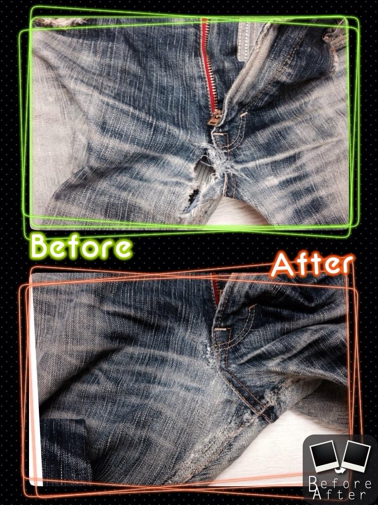 エドウィン503ジーンズ股穴修理