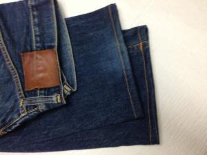 EVISUエビスジーンズ 裾丈詰め 裾の穴修理1