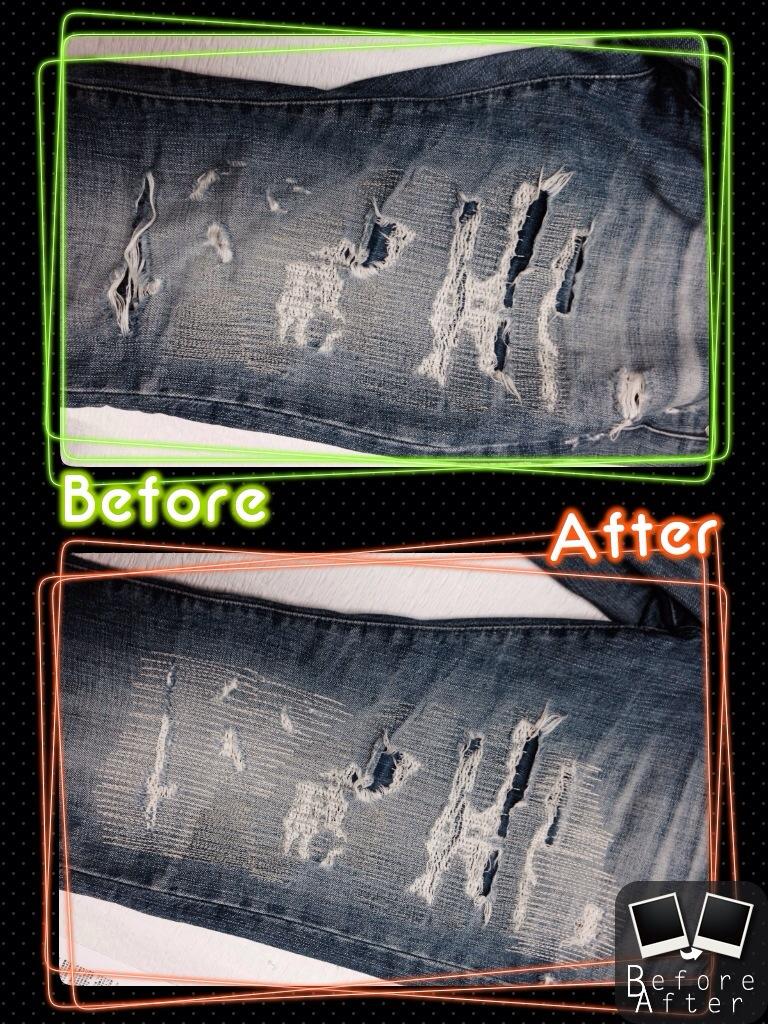 AGjeans膝穴修理