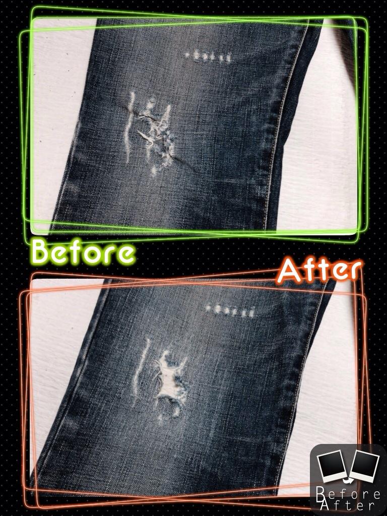 バーバリーデニム膝修理