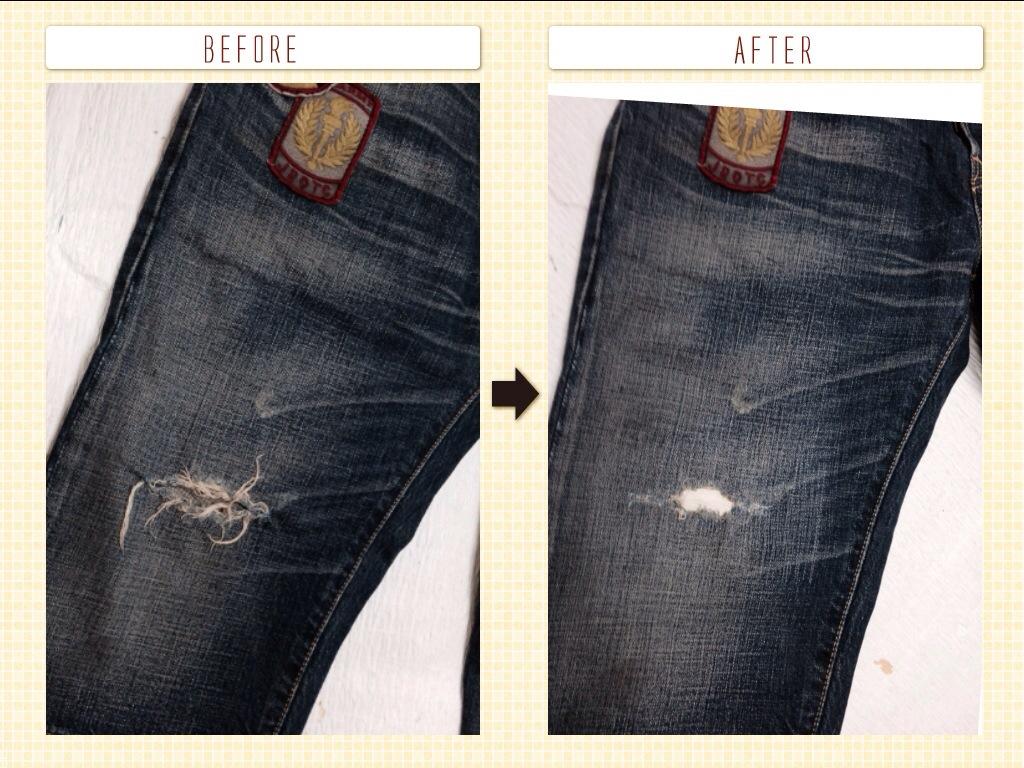 リーバイス501ショートパンツ腿穴修理
