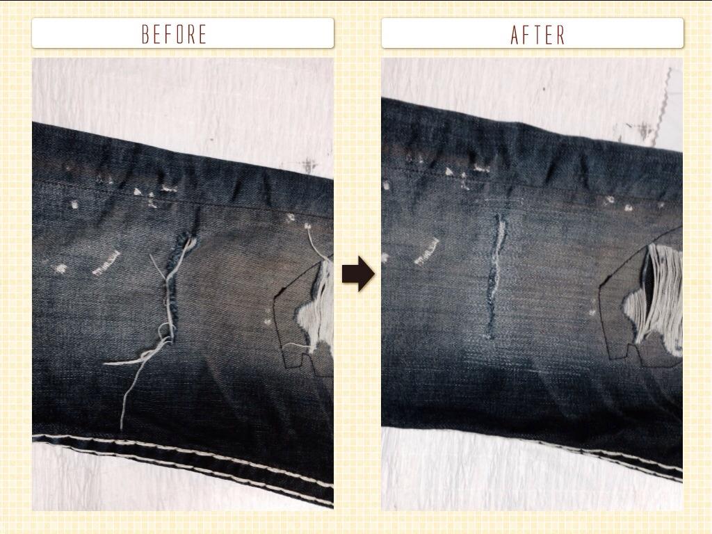TRUERELIGION トゥルーレリジョン膝穴修理