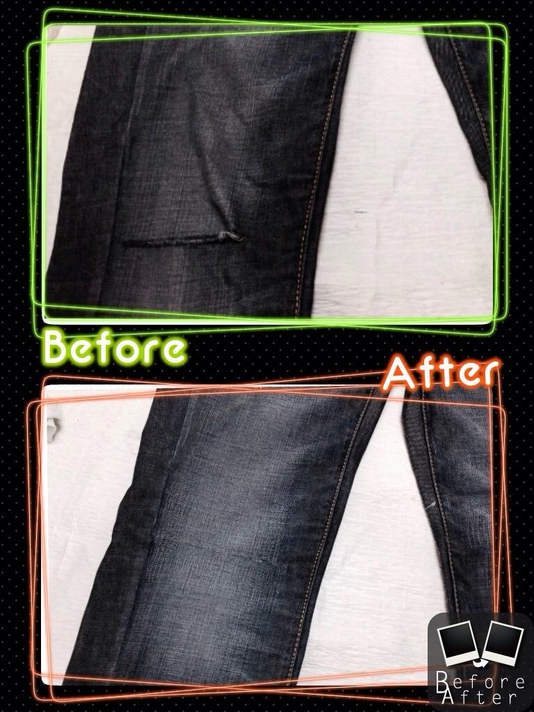 ベネトンデニム膝穴修理