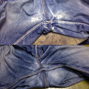 Levi's リーバイス ジーンズ 股スレと膝穴のリペア(修理・直し・リフォーム)
