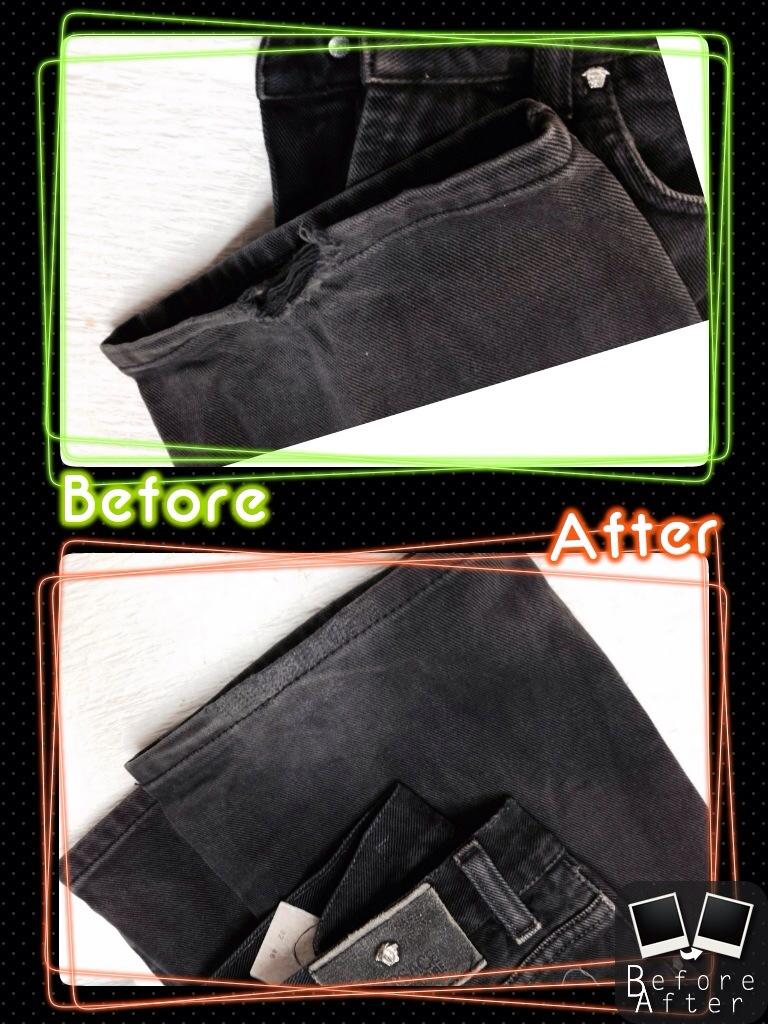 ヴェルサーチ VERSACE jeans 裾穴修理