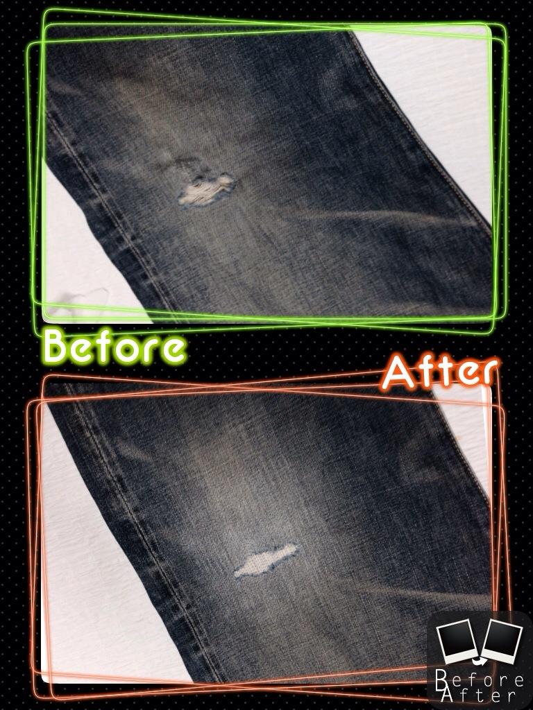 リーバイスジーンズ膝穴修理2
