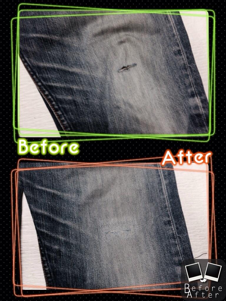 リーバイス膝穴修理