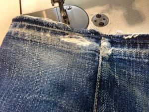サムライジーンズ 裾ホツレ修理2