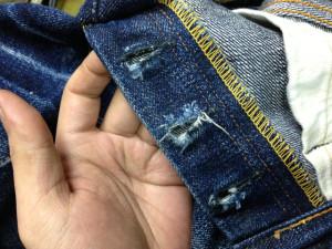 サムライジーンズ(Samurai Jeans) ボタンホール修理1