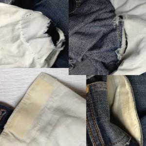 ジーンズ 股のスレ穴とポケットスレキのリペア1