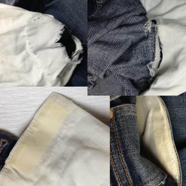 ジーンズ 股のスレ穴とポケットスレキのリペア